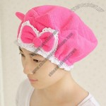 Fashion Bow Hair Cap Lace Decoration Microfiber Shower Cap With Bowknot