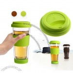 Fashion Glass with Silicone Sleeve and Lid
