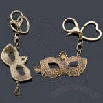Fashion Gold-Plated Alloy Mask Keychains With Glass And Rhinestone
