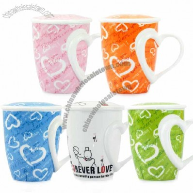 Fashion Heart Design Handle Ceramic Mug