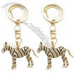 Fashion Metal Keychain with Zebra Design