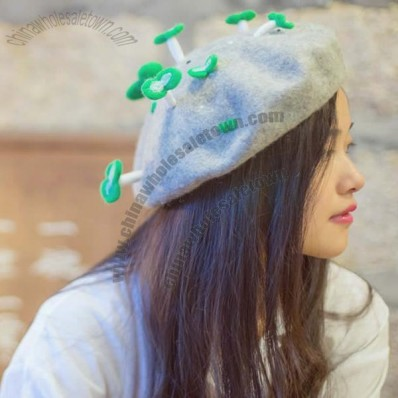 Fashion Style Women Green Shoots Wool Felt Beret