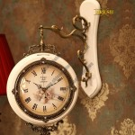 Fashion Wood White Double Sides Wall Clock