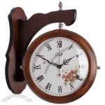 Fashion Wooden Two Side Wall Clock
