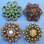 Fashionable Brooch with Wooden Beads and Optional Plating