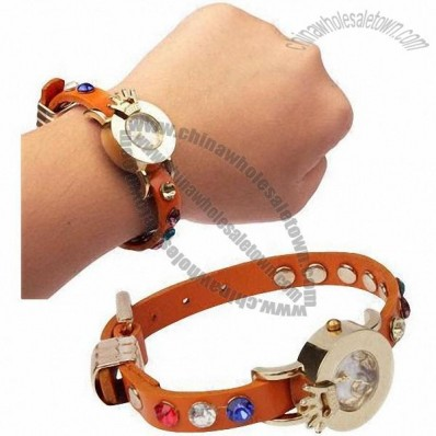 Fashionable Color Rhinestone Crystal Quartz Watch with Leather Strap