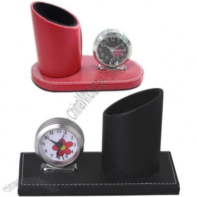 Fashionable Leather Clock with Pen Holder