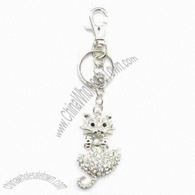 Fashionable Rhinestone Keychain in Cat Shape