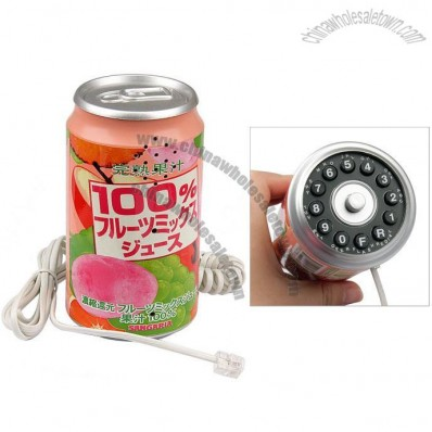 Fashionable Stylish Peach Drink Can Style Wired Telephone
