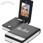 Faux Leather Business Card Holder W/ Picture Insert And Gun Metal Plate