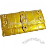 Faux leather 3 fold design clutch wallet with buckle
