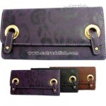 Faux leather clutch wallet with flower and twin buckle