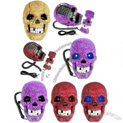 Fearful Diamond rhinestone Skull Shape Novelty TelePhone