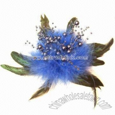 Feather Brooch with Pearls Cluster