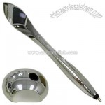 Feather shaped silver plated pen with pen stand