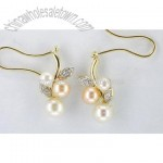 Fine Gold Jewelry-10k Gold Pearl & Diamond Earrings