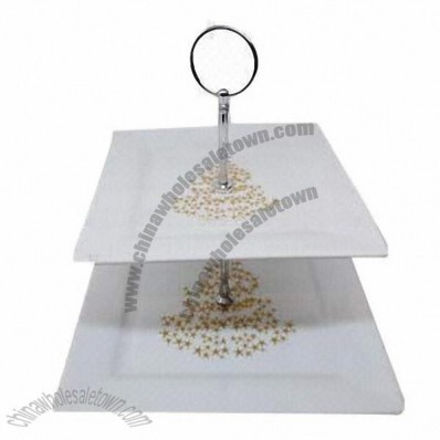 Fine Porcelain 2 Tier Cake Stand in Square-shaped with Christmas Design