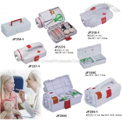 First Aid Kits Box with Flashlight