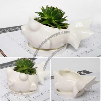 Fish Ceramic Succulent Planter Flower Pot