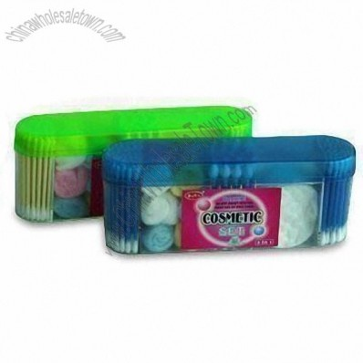 Five-in-one Cosmetic Set with 10-piece Cotton Balls and 20-piece Safety Buds