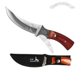 Fixed blade wood handle hunting knife.