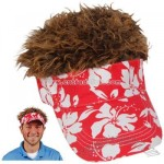 Flair Hair Red Hawaiian Floral Visor with Brown Hair