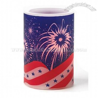 Flameless Musical Candle 4 inch Celebrate America Blue