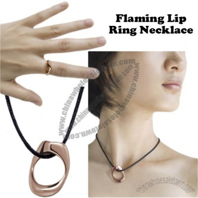 Flaming Lip Ring Necklace