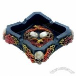 Flaming Skull & Eagle Polyresin Ashtray