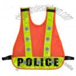 Flashing LED Reflective Vest - Police