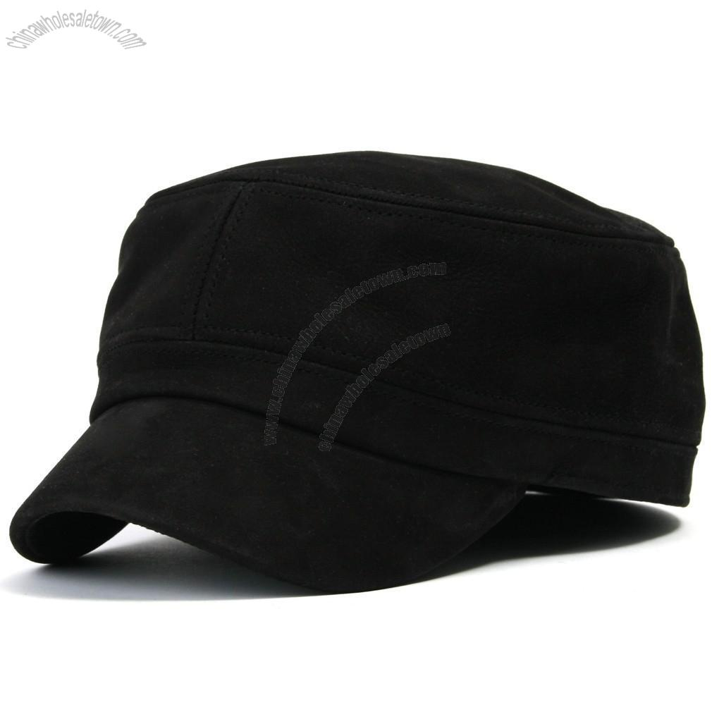 Flex-fit Genuine Leather Military Cadet Cap for mens and