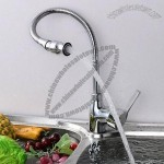 Flexible Kitchen Sink Basin Faucet Copper Telescopic Rotating Mixer Water-taps