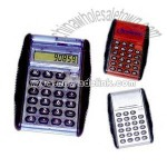 Flip calculator with 8 digit display and black rubber grip