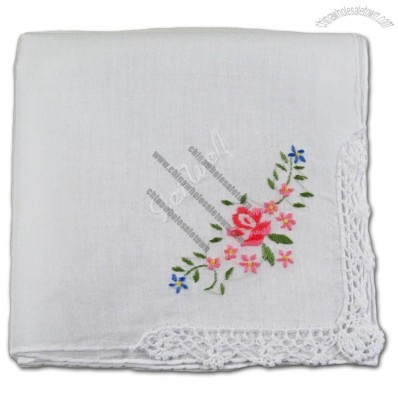 Floral Handkerchief with Embroidery