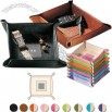 Florentine Napa Leather Coin Tray - Leather stash tray snaps open to lie flat for travel
