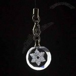 Flower-Engraved Crystal Keychain