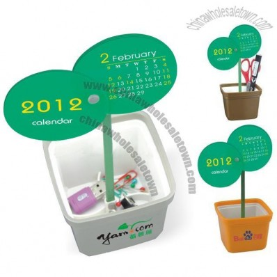 Flowerpot Shaped Pen Holder with Desk Calendar