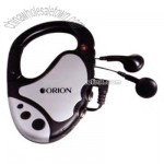 Fm scan carabiner radio with metallic silver trim and ear buds