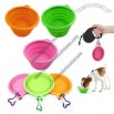 Fold-N-Go Silicone Collapsible Pet Food/Water Dish Dog Travel Bowl with Bone Carabiner