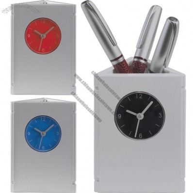 Foldable Desktop Pen Holder Clock