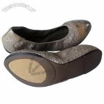 Foldable Leather Ballet Shoe, Women's Flat Design, Pointed Last, Cute Design, Comfortable Insole