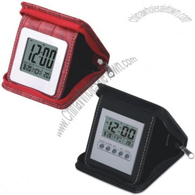 Foldable Leather Clocks with Zipper Bags
