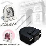 Foldable Metal Travel Clock with Leather Package