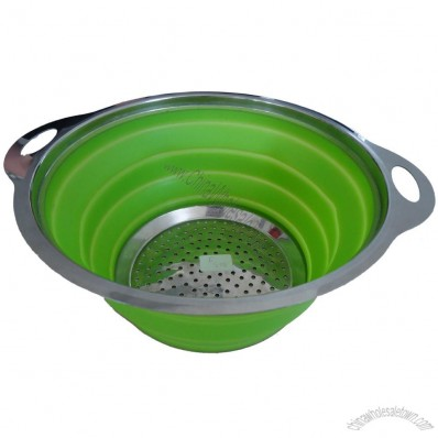 Foldable Silicone Colander with Stainless Steel Rim