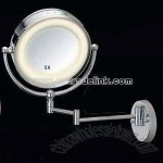 Foldable magnify mirror with built-in fluorescent lamp