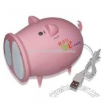 Foldable pig shaped USB mini speaker with built-in FM radio