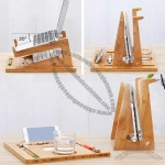 Folding Bamboo Desktop Stand With Base for Tablet Laptop Macbook Air or Pro