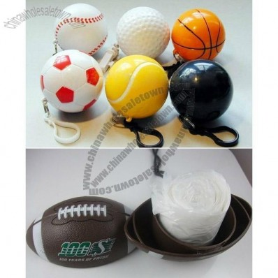 Folding Disposable Raincoat in Sports Balls Shaped