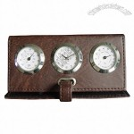 Folding Leather Clock With Thermometer and Hygrometer