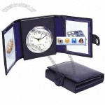 Folding Leather Table Clock with Photo Frame